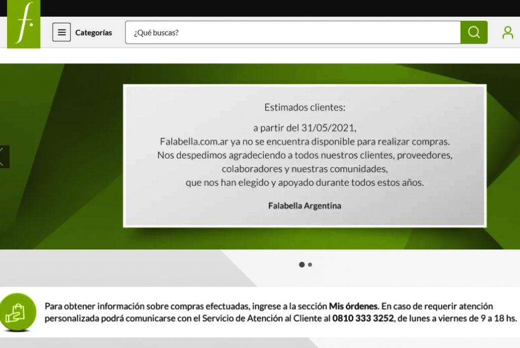ecommerce Argentina Falabella se despide